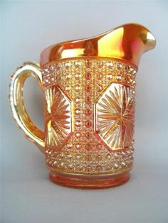 Star Medallion by Imperial Marigold Carnival Glass Pitcher