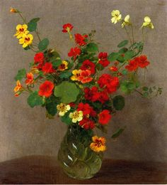 "Henri Fantin-Latour (1836-1904) was a French painter and lithographer best known for his flower paintings and group portraits of Parisian artists and writers. ~  ""Nasturtiums"""