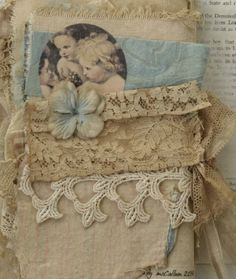 Mixed Media Fabric Collage Book of French Cherubs | eBay