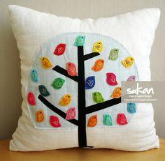 Sukan / Color Birds  White Linen Pillow Cover - Decorative Throw Pillows Nursery Decor - 14x14 inch