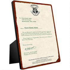 Personalized Hogwarts Acceptance Letter Chromaluxe Panel | CUSTOM!!!!