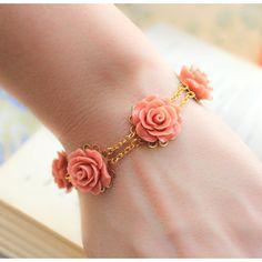 Coral Rose Bracelet Bridal Jewelry Peach Coral by apocketofposies Coral Jewelry, Rose Jewelry, Wedding Jewelry, Coral Bracelet, Flower Bracelet, Gold Jewellery Design, Bead Jewellery, Beaded Jewelry, Jewelry Bracelets