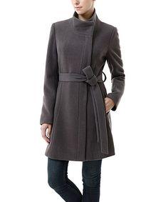 Look at this #zulilyfind! Gray Beth Wool-Blend Tie-Waist Coat - Women #zulilyfinds