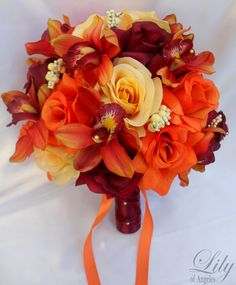 """17 Piece Package Wedding Bridal Bride Maid Bridesmaid Bouquet Boutonniere Silk Flower ORANGE BURGUNDY YELLOW Fall """"Lily of Angeles"""" ORYE03 by LilyOfAngeles on Etsy https://www.etsy.com/listing/238801514/17-piece-package-wedding-bridal-bride"""