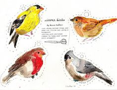 rebecca's misc.: Winter Birds printable tags or ornaments assortment of 12