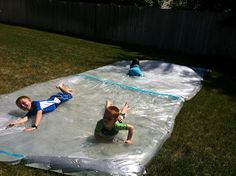 "Giant ""water bed"" outside sensory bag     ~plastic drop cloth and duck tape at Walmart for under 10 bucks for both.  She has good tips for ""next time""  ;)"