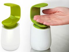 Joseph Joseph C-Pump features a unique design that allows it to be operated with the back of one hand, keeping the top head cleaner and more hygienic.