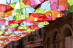 Photographs of a delightful public art installation in Portugal :: Architizer, The Umbrellas of Águeda