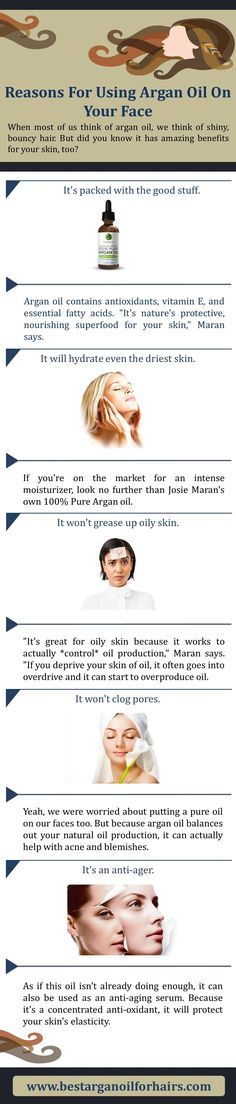 Basically, we all are  thinking Argan Oil is just for our hairs. But, we don't know it is very useful for our face. In this infographic, I have explained some reasons for using Argan Oil on your face.  http://www.bestarganoilforhairs.com/