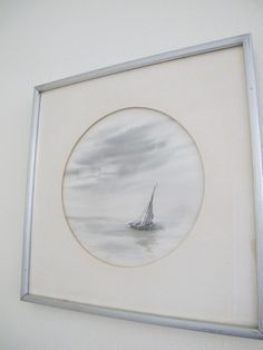 Signed Original Carol Beasley '80 Sailboat on ocean Watercolor Painting grays