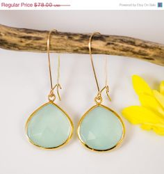 Aqua Blue Chalcedony Earrings  Long  by delezhen  $66.30