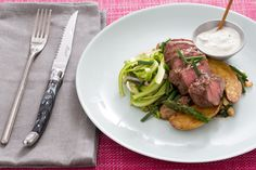Recipe: Flat Iron Steaks with Ramps, Fingerling Potatoes & Shaved Asparagus Salad - Blue Apron