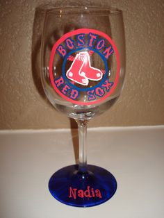 Red Sox Wine Glass.... i NEED this :)