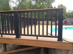 Real Home Inspiration: metal deck railing images only on this page . Real Home Inspir Metal Deck Railing, Patio Railing, Balcony Railing Design, Deck Design, Outdoor Railings, Deck Stairs, Glass Railing, Metal Roof, Landscape Design