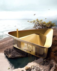 Anti Reality has conceived a charming Summer House with an innovative pool created by inverting the roof. The vacation home also has panoramic views. Pyramid House, Outdoor Walkway, House By The Sea, One Story Homes, Rooftop Pool, Roof Structure, Spanish House, Construction, Story House