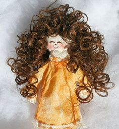 Handmade Brunette Rag Doll in Orange