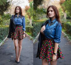Let Them  Stare Skirt, Stradivarius Denim Shirt