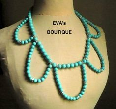 Large statement necklace with blue turquoise beads by evarugina
