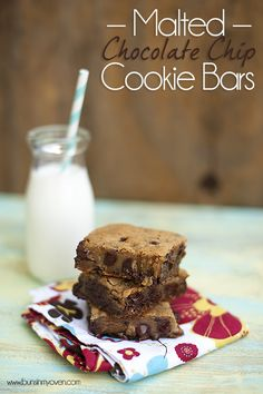 Super gooey malted chocolate chip cookie bars! A total favorite!!