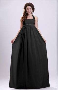 Black Bridal Gown - Simple Church Empire Halter Zip up Pleated