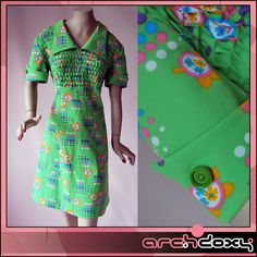 Vintage 1960s Dreamy MOD Pea Green Print Ruched Empire Scooter Mini Dress #vintagedress  http://www.ebay.co.uk/itm/Vintage-1960s-Dreamy-MOD-Pea-Green-Print-Ruched-Empire-Scooter-Mini-Dress-UK16-/282043421364
