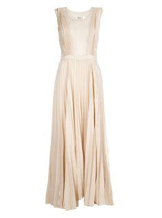 pleated maxi dresses | Jovonnista Nude Pleated Maxi Dress
