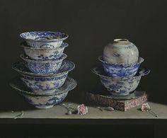 Porcelain treasures. 2014. Oil on panel.. by Erkin