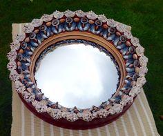 Large red deep convex shell mirror Shell Mirrors, Convex Mirror, Seashell Crafts, Stuffed Shells, Shell Art, Leaded Glass, Interior Accessories, Sea Shells, Stone