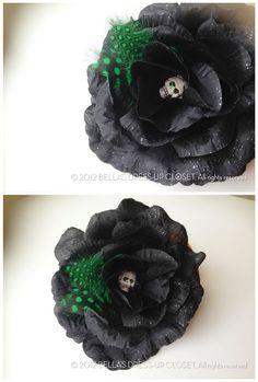 SALE 10 OFF OOAK Black Rose Skull Hair by BellasDressUpCloset, $7.95