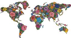 Floral World Map by Julia Christina