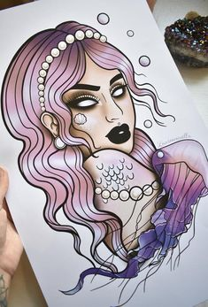 Imprimé Purple Mermaid Jellyfish and Pearl image 4 Traditional Tattoo Girls, Neo Traditional Art, Traditional Tattoo Forearm, Mermaid Drawings, Mermaid Tattoos, Girl Tattoos, Octopus Tattoos, Tattoo Outline Drawing, Tattoo Drawings