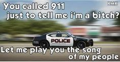 Usually comes about from too much alcohol and the need to call 911 to call the cops names; but the dispatchers get it first!