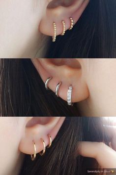 Trending Ear Piercing ideas for women. Ear Piercing Ideas and Piercing Unique Ear. Ear piercings can make you look totally different from the rest. Triple Ear Piercing, Three Ear Piercings, Piercing Face, Pretty Ear Piercings, Ear Peircings, Daith Piercing, Cartilage Hoop, Anti Tragus, Double Cartilage