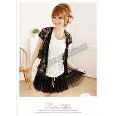 Black Lace & White Ruffles Blouse $39.90 at www.Glamorazzi.com.au