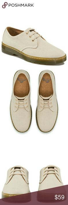 Dr. Martens Men's Delray Oxford These are new store displays so they show slight signs of wear.   Experimenting with the season's lightweight look and feel, our Cruise range uses clean lines and pared-back silhouettes to bring style to the fore. The 3-eye Delray shoe uses classic Dr Martens styling and fuses it with simple details. Overdyed Twill Canvas carries a rich, deep colour due to its heavy dying process, creating a high-impact look. And rebellion lurks beneath with our signature…