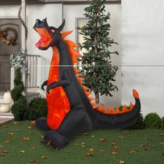 #8 Gemmy Airblown Inflatable 7' X 7.5' Dragon with Lights and Animation Halloween Decoration