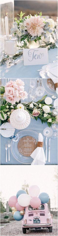 Elegant Dusty Blue and blush wedding color ideas / http://www.deerpearlflowers.com/dusty-blue-wedding-color-combos/ #weddingcolors #weddingideas #bluewedding #dustyblue