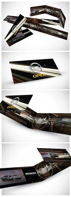 Depliant Opel Creato all'ILAS come esercizio di grafica. Graphic Design Branding, Cards, Maps, Playing Cards