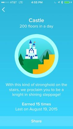 Fitbit Badges List: A Collection of the Fitbit Achievements.  200 Floors a day walked with fitbit app. http://www.developgoodhabits.com/fitbit-badge-list/