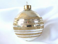 Vintage Silver with Gold Glitter Stripes Large Christmas Holiday Ornament