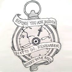 """A meaningful tattoo design of a compass that says: """"Before you ask which way to go, remember where you've been"""". Color: Black. Tags: Cool, Meaningful"""