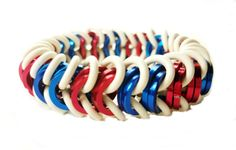Red White and Blue Stretch Bracelet  Unisex by AndrassidyDesigns