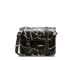 Taking inspiration from one of the key seasonal prints that we have used within the footwear, this Patent Marble 7 satchel has an over-sized closure flap, magnetic buckle fasteners for ease of use and an adjustable and removable leather shoulder strap. 7 wide x 5 tall and 2 deep, shoulder strap 45.