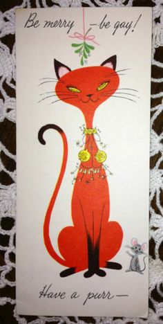 Vintage Christmas Greeting Card Red Siamese Cat EB2061