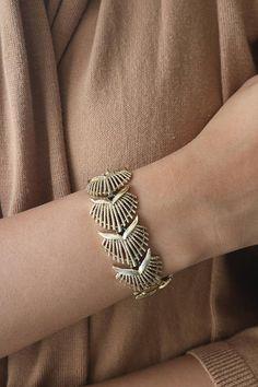 Vintage CORO Gold Tone Leaf Bracelet - Statement Gold Bracelet