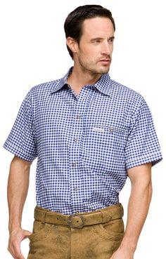 Stockerpoint Trachtenhemd Renko2 blau Halbarm Karohemd