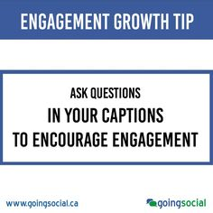 Engagement Growth Tip: When posting content, ask questions in your captions to encourage engagement.  That prompts people to put out other advice and contribute. Remember to thank those people who comment.