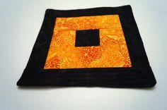 Modern Batik Quilted Mug Rug in Orange and Black by MyBitOfWonder