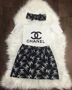 Chanel inspired baby girl toddler girl outfit skirt and headband off the shoulder top Luxury Baby Clothes, Designer Baby Clothes, Cute Baby Clothes, Clothes For Girls, Cute Baby Girl Clothes, Children Clothes, Cute Little Girls Outfits, Kids Outfits Girls, Toddler Outfits