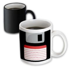 3dRose Retro 90s computer black floppy disk graphic design with red label - 1990s - ninties computer tech, Magic Transforming Mug, 11oz